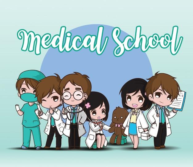 Медицинская школа. милый мультипликационный персонаж доктор.