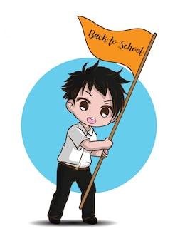 Симпатичный подросток студент символов вектор. вернуться к школьному содержанию.