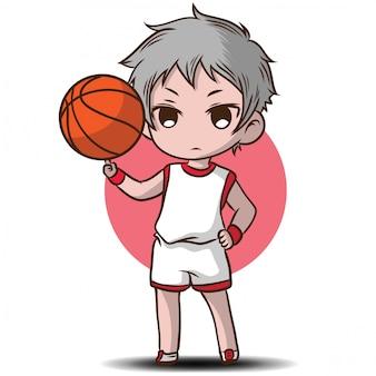 かわいい男の子は、バスケットボールの漫画のキャラクターを再生します。