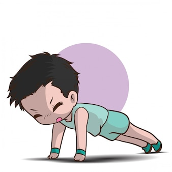 かわいい男の子の漫画のキャラクターをウォームアップします。