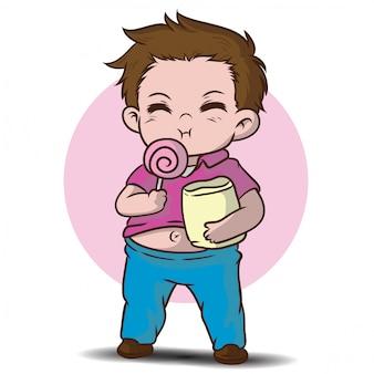 かわいい太った少年漫画のキャラクター。