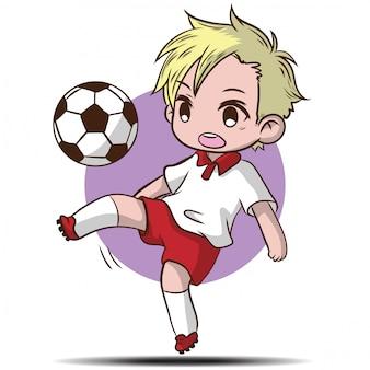 かわいい男の子はサッカーの漫画のキャラクターを再生します