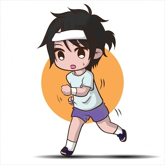 かわいい実行少年漫画のキャラクター。