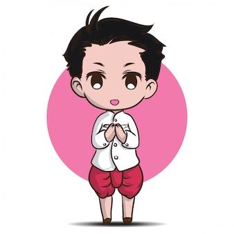伝統的な衣装でかわいいタイの少年。