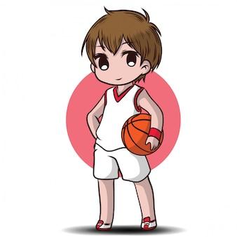 Милый мальчик играть в баскетбол мультипликационный персонаж.