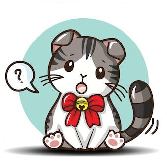 Милый кот шотландская вислоухая мультфильм