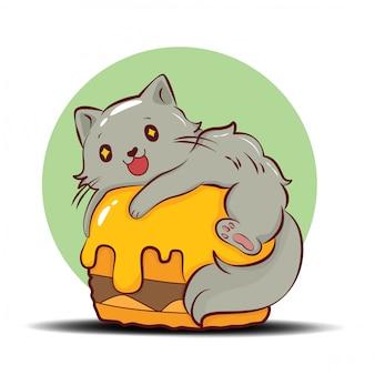 かわいいペルシャ猫漫画文字ベクトル。