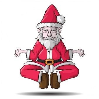 サンタクロースの瞑想のベクトルイラスト