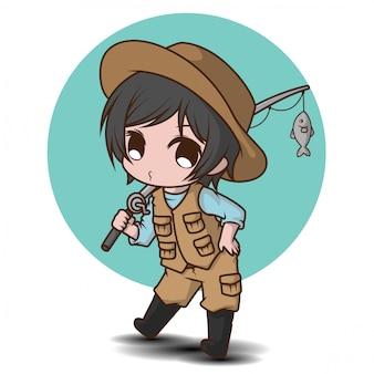 Симпатичный рыбак мультипликационный персонаж., работа карттон.