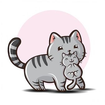 Симпатичная американская короткошерстная кошка мультфильм.
