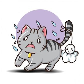 かわいいショートヘア猫漫画のベクトル。