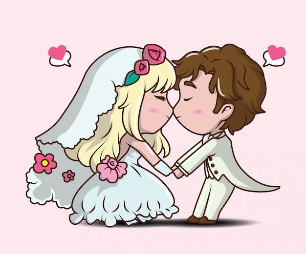 かわいい男の子と女の子の結婚式でキスします。バレンタインの日の概念。