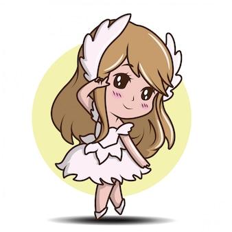 Милая девушка в танце платье иллюстрации