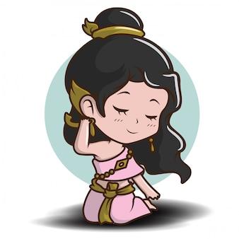 Симпатичная девушка в тайской традиции костюм мультфильм в любви.
