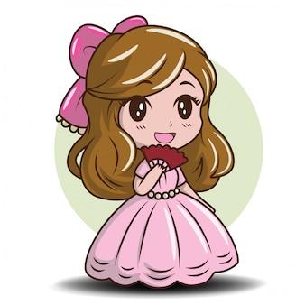 お姫様を着てかわいい女の子、おとぎ話の漫画のコンセプト。