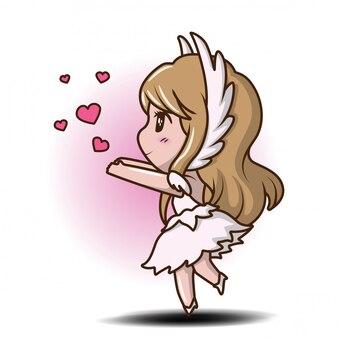 Милая девушка в платье танца., сказочный мультфильм концепции.