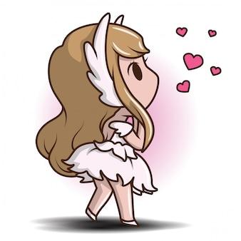 Милая девушка в платье танец, сказка мультфильм концепции.