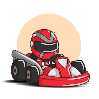 Милый мальчик мультфильм в костюме гонщика.