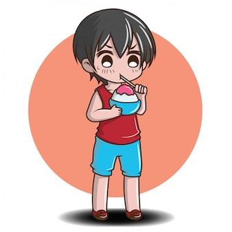 かわいい男の子は、夏、夏の活動の概念に氷のデザートを食べる。