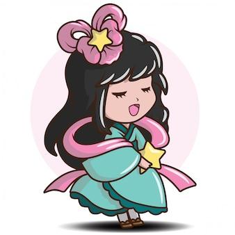 Симпатичная японка в костюме принцессы., персонаж мультфильма