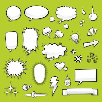 コミックデザインのための漫画要素のセット