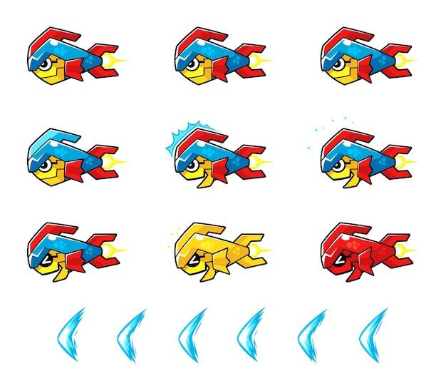 トルーパー魚ロボット敵ゲームスプライト