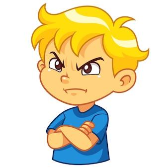 怒った少年の表現