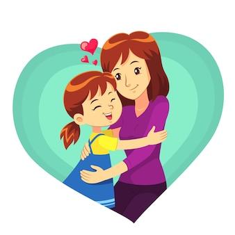 Дочь и мать обнимаются с любовью