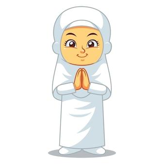Приветствие мусульманской девушки хадж