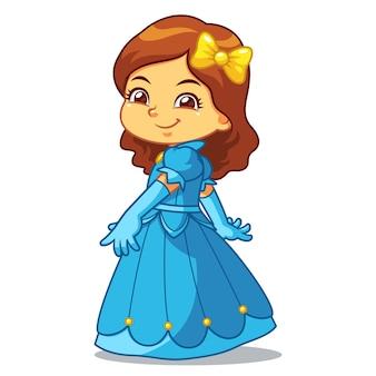 Девушка одета как принцесса в голубое платье.