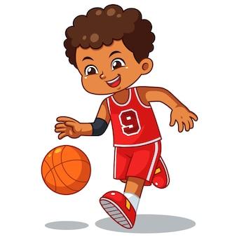 ドリブルを行うバスケットボール男の子。