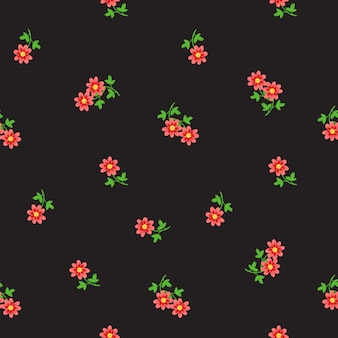 暗闇の中に散らばって小さな小さな赤い花を持つ頭が変なシームレスパターン