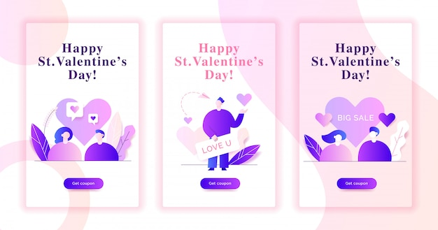 День святого валентина веб баннер иллюстрации