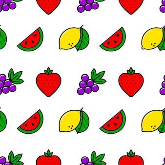 Казино фрукты стиль линии бесшовные модели