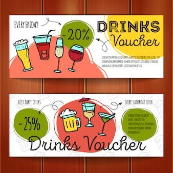 飲料用の割引クーポンのセット