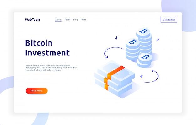Изометрические биткойн инвестиционный баннер