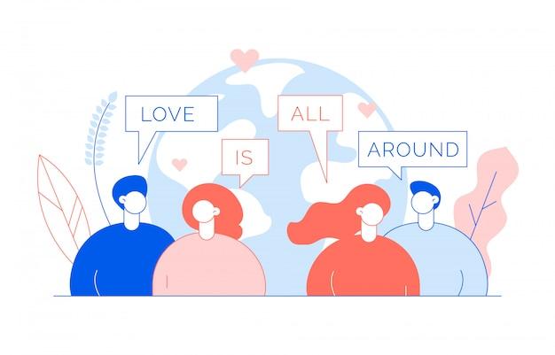 人々と聖バレンタインの日の概念