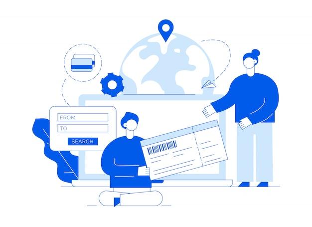 Векторная иллюстрация путешествия с большими современными людьми, мужчина и женщина, покупая билеты онлайн