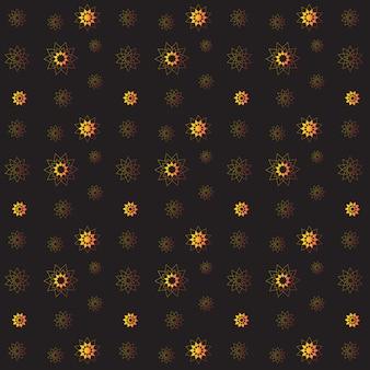 黒の背景に金色の豊かな花柄シームレス