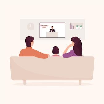 Бабушка и дедушка и дочь смотрят телевизор у себя дома.