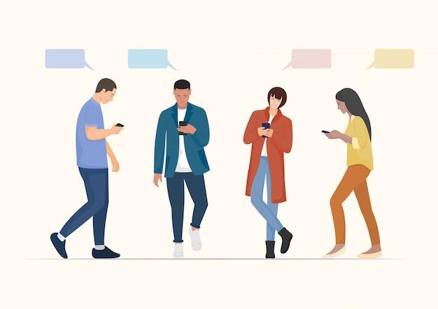 スマートフォンを使用している人々。フラットなキャラクター。