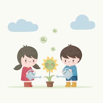 花の地球に水をまく子供たち。地球の生態を救う