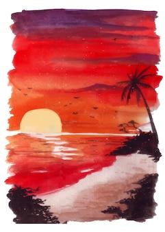 ビーチと周囲の雲に燃えている赤みがかった光と日没の水彩画の景色のイラスト。