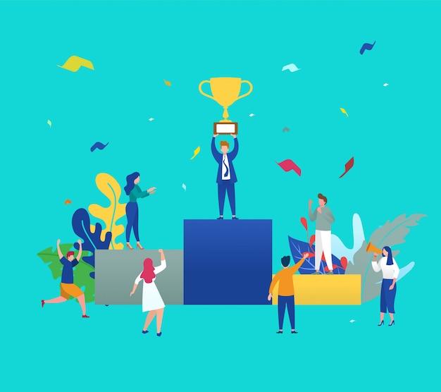 Иллюстрация концепция группы деловых людей характер проведения тропи и получить награду стоя на подиуме и праздновать
