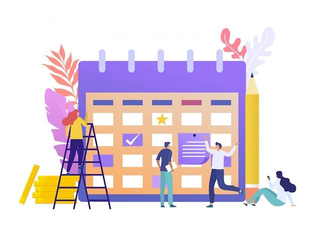 事業計画アジェンダアラームイラストコンセプト、幸せな従業員のグループは、付箋にスケジュールを書く
