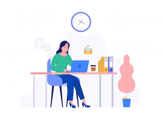 Счастливая женщина, работающая дома с ноутбуком, фриланс, коворкинг пространство, концепция иллюстрации, женщина фрилансер, работающий на компьютере, можно использовать для, целевую страницу, шаблон, пользовательский интерфейс, веб, домашняя страница, плакат