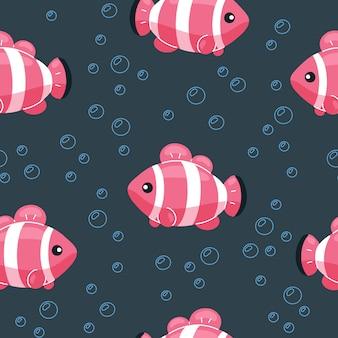 カラフルな魚のシームレスパターン