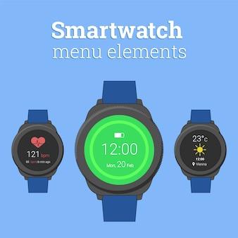 Современные умные часы в круглом дизайне с иконками прогноза погоды и пульсометра.