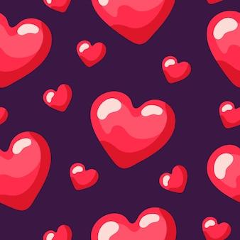 Бесшовные повторяющийся узор из красных маленьких и больших сердец,