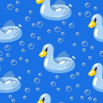 Вектор бесшовные летний узор с плавающим лебедем в воде